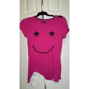 Distressed Glittery Star Smiley Face Shirt